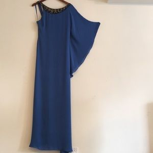 NWT BCBGMaxazria Runway Crepe Gown Blue Maxi Dress